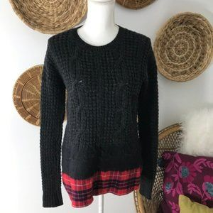Madewell • Flannel Trim Pullover Crew Neck Sweater